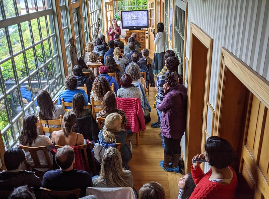 Macarena Soler speaking at Tompkins Conservation in Puerto Varas. Photo: Amigos de los Parques de Chile