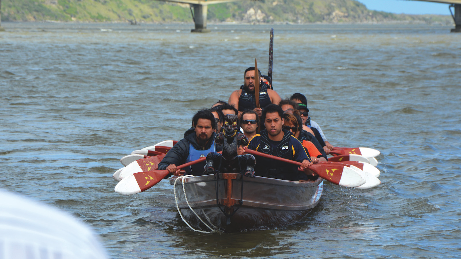 A group of Maori participating in an indigenous ceremony on the Whanganui River in New Zealand. Photo: Dennis Kuhn